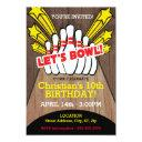 bowling birthday invitations with pins