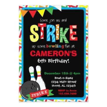 bowling birthday invitations, bowling chalkboard invitations