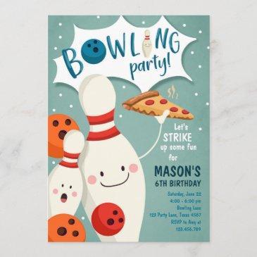 bowling birthday invitation boy pizza strike up