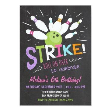 bowling birthday invitations pink purple girl