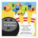 bowling birthday party invitations retro