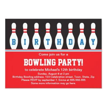 Bowling Birthday Party Invitations With Pins