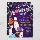 bowling glow neon disco girl birthday invitation