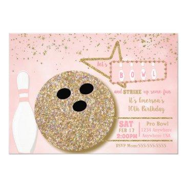 bowling party, birthday pink glitter look 10th invitation