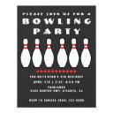 bowling party gray boys birthday party invitations