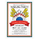 bowling party | kids colorful birthday invitations