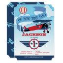 boy, 1st birthday, aeroplane, time flies, aviation invitation