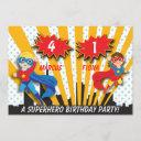 boy and girl superhero birthday invitation