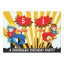 boy and girl superhero birthday invitations