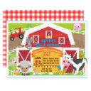 boy barnyard invitation - farm birthday invitatio
