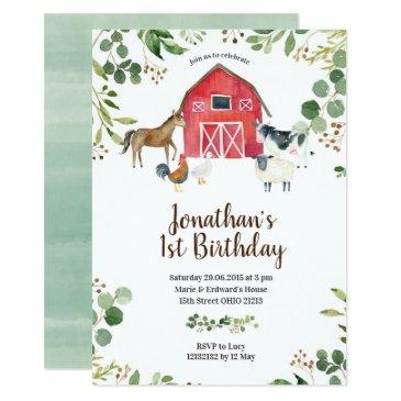 boy farm animals barnyard birthday invitation