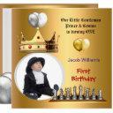 boy first birthday 1st gentleman prince genius invitation