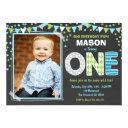 boy first birthday chalkboard invitations