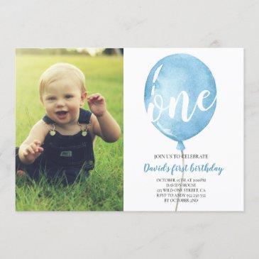 boy first birthday with photo blue balloon invitation
