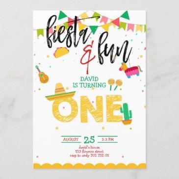 boy first fiesta birthday invitation
