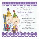 boy & girl stick figure twins birthday invitations