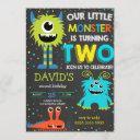 boy monster 2nd birthday little monster chalk invitation