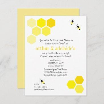 boy or girl twins any age bee birthday party invitation
