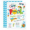boy pool party invitation, summer birthday invitation