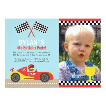 boy red race car birthday party photo invitations