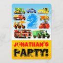 boy's 2nd birthday truck vehicles party invitation