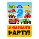 boy's 2nd birthday truck vehicles party invitations