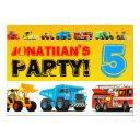 boys 5th birthday big construction truck party invitation