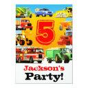 boys 5th birthday construction trucks party invitation