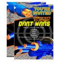 boys birthday party invitations dart wars