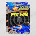 boys birthday party invitation dart wars