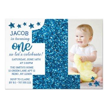 boys blue glitter photo first birthday invitation