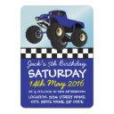 boys blue monster truck personalized birthday invitation