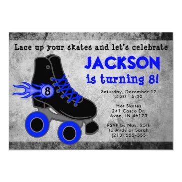 boy's blue roller skate extreme birthday invitation