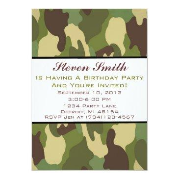 boy's camo birthday invitations