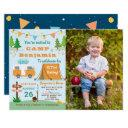 boys camping birthday camp out party photo invitation