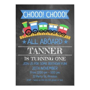 boys chalkboard train birthday party invitation