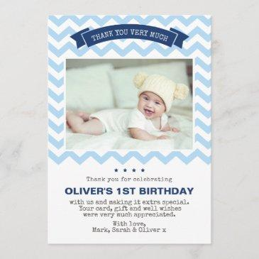 boys chevron birthday thank you invitations