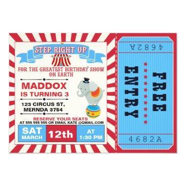 boys circus ticket birthday party invitations