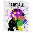 boys colorful paintball 10th birthday party invitations