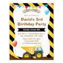 boys construction birthday party invitation