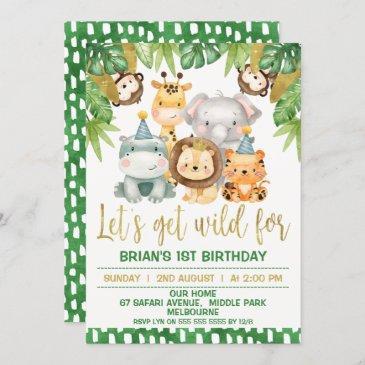 boys cute wild one safari 1st birthday invitation