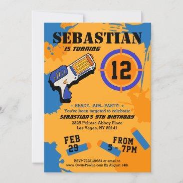 boys dart gun party birthday invitation