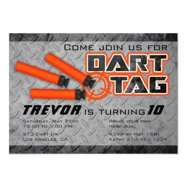 boys dart tag birthday party invitation
