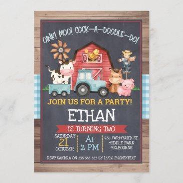 boys farm animals chalkboard birthday invitation