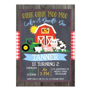 boys farm barnyard chalkboard birthday invitation
