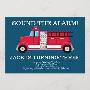 boys fire truck birthday invitation