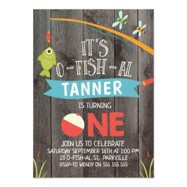 Small Boy's Its O-fish-al 1st Birthday Invitation Front View