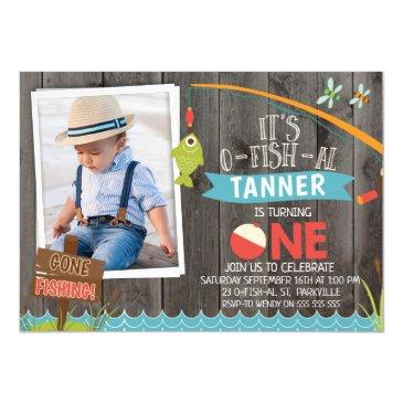 boy's its o-fish-al photo1st birthday invitations