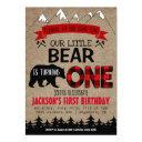 boys little bear birthday invitation