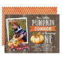 boy's little pumpkin photo1st birthday invitation
